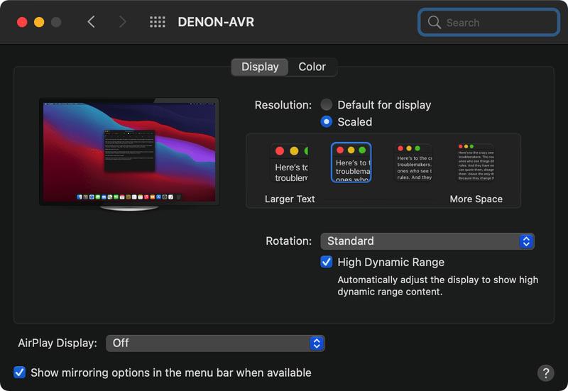 Apple M1 Silcon displays hdr setting