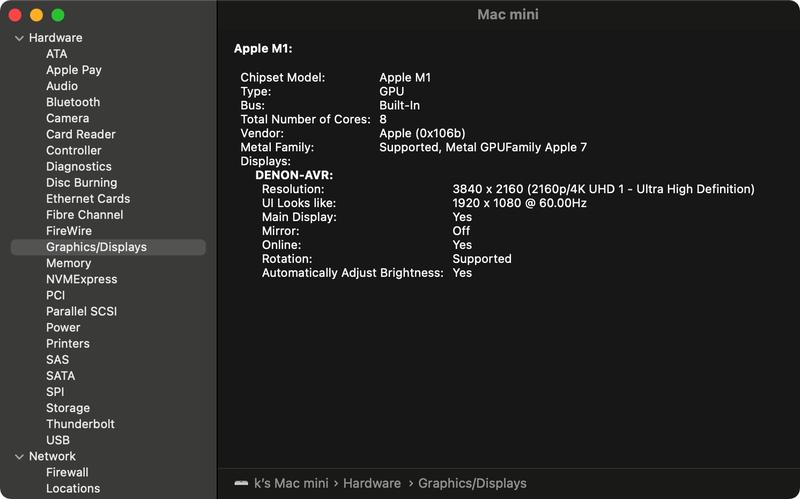 Apple M1 Silcon system report graphics/displays