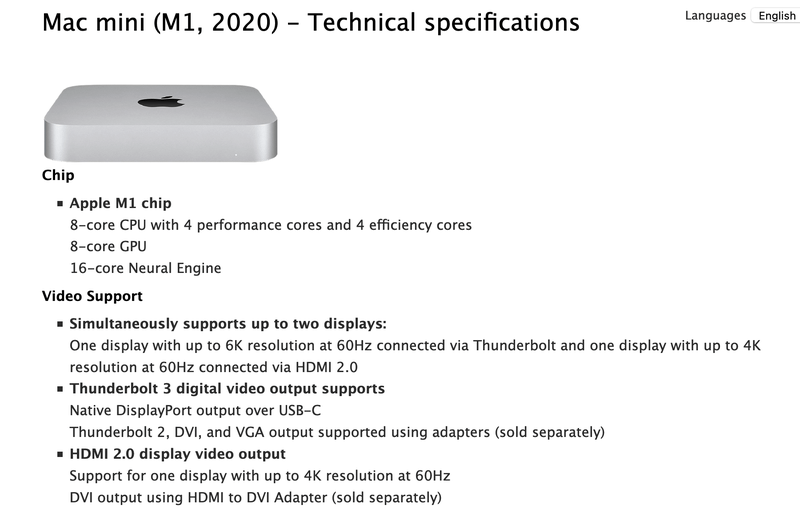 Apple Mac Mini M1 without any support for billions of colors