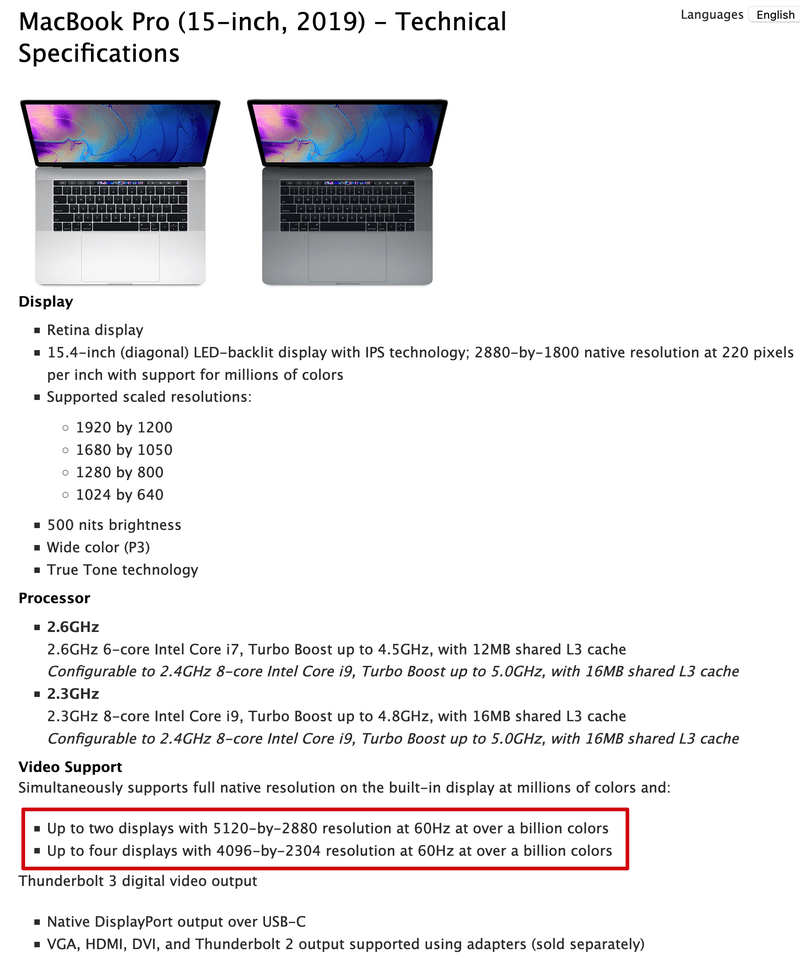 """Apple MacBook Pro specifications showing support for outputting """"Billions of colors"""""""
