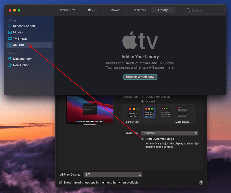 Apple TV app shows HDR category when HDR is enabled in display settings