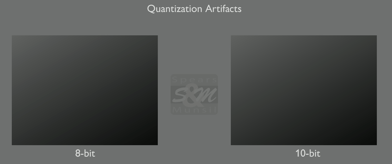 Spears Munsil Quantization Test shows 10-bit pattern has less banding