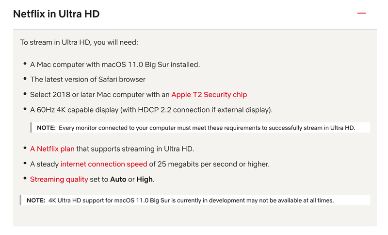 Netflix requirements for streaming in Ultra HD on Mac